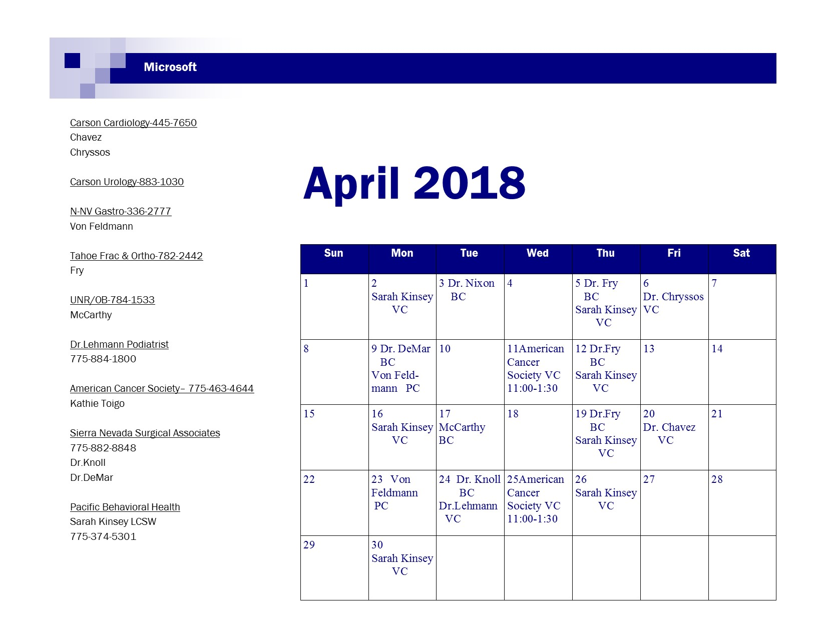 April Visiting Doc Schedule 2018