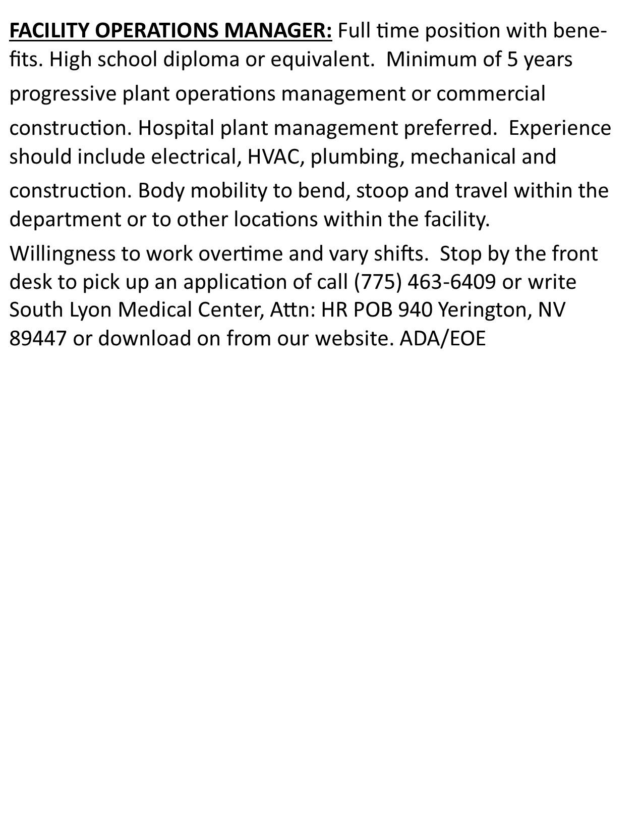 FACILITY OPERATIONS MANAGER JOB