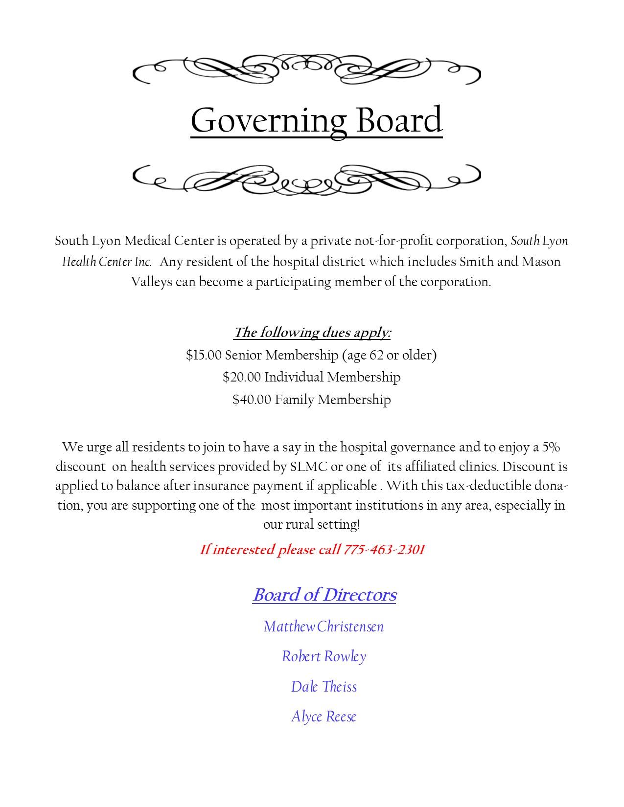 Governing Board board of directors
