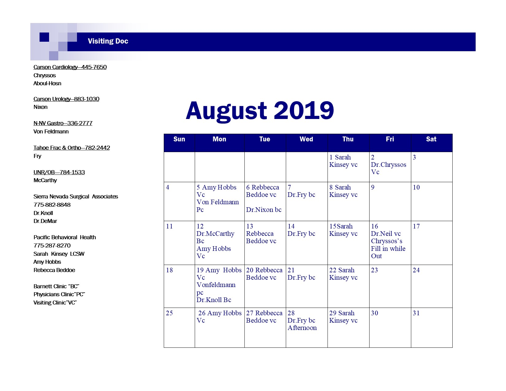 August 2019 Visiting Docweb site