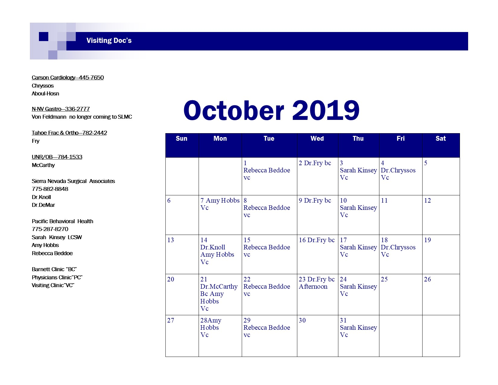 October 2019 Visiting Doc Schedule