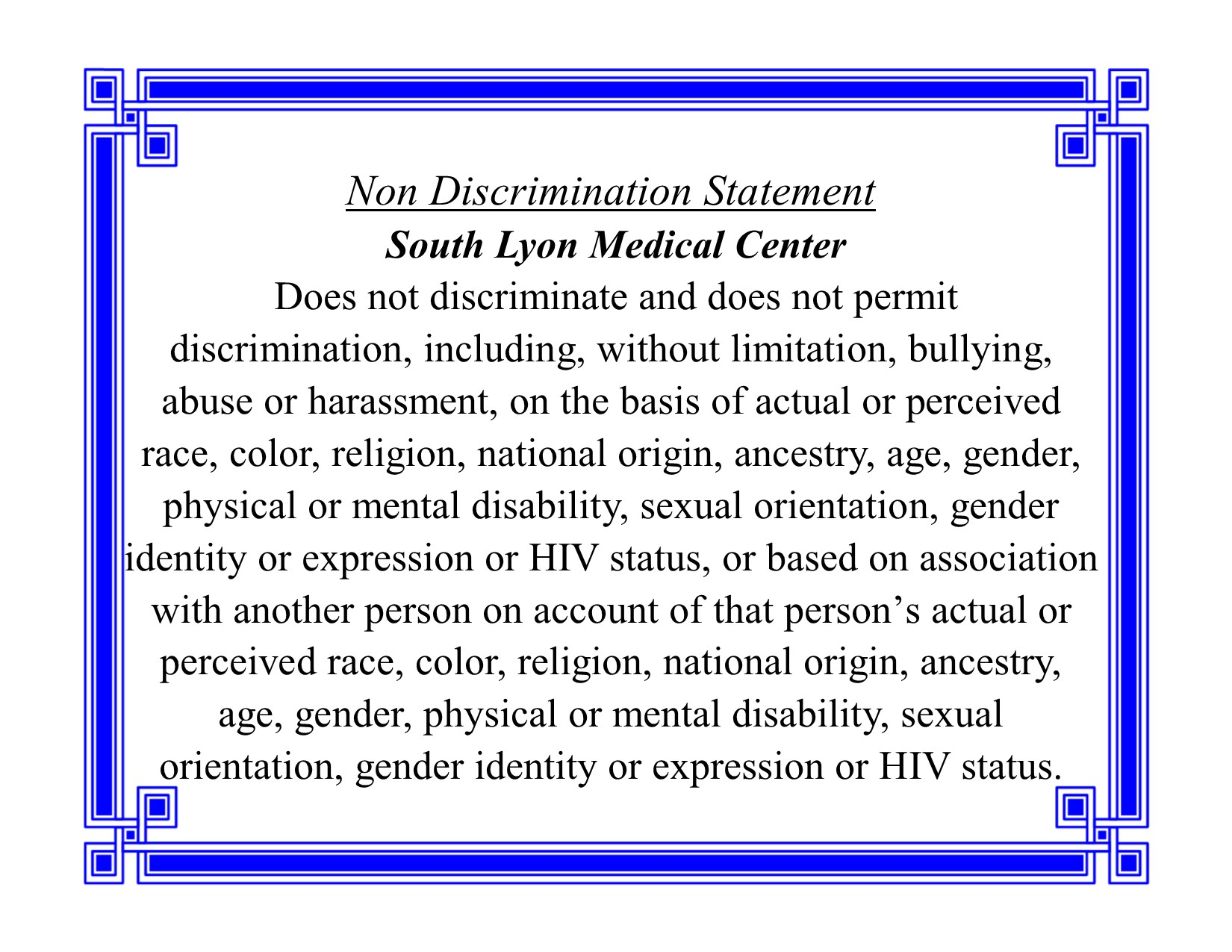 2020 Non discrimination Statement