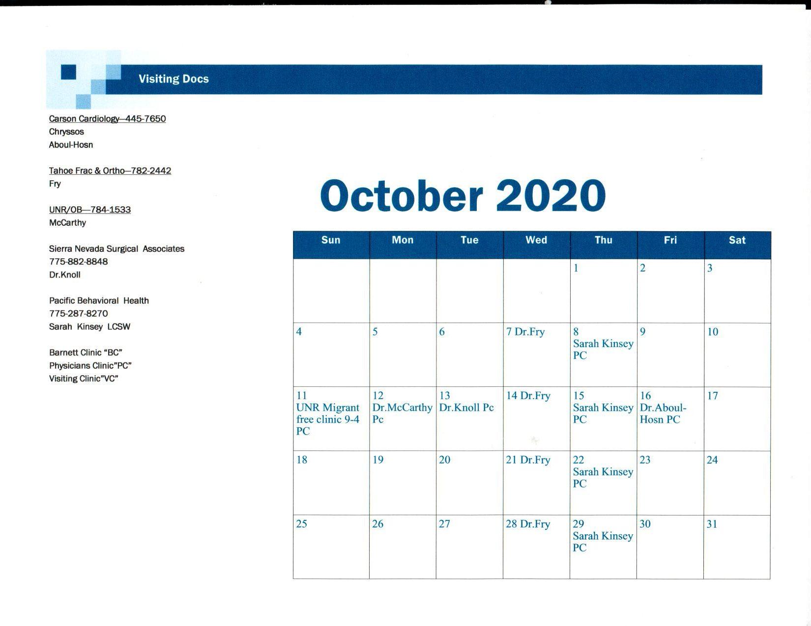 October 2020 Visiting Dr schedule
